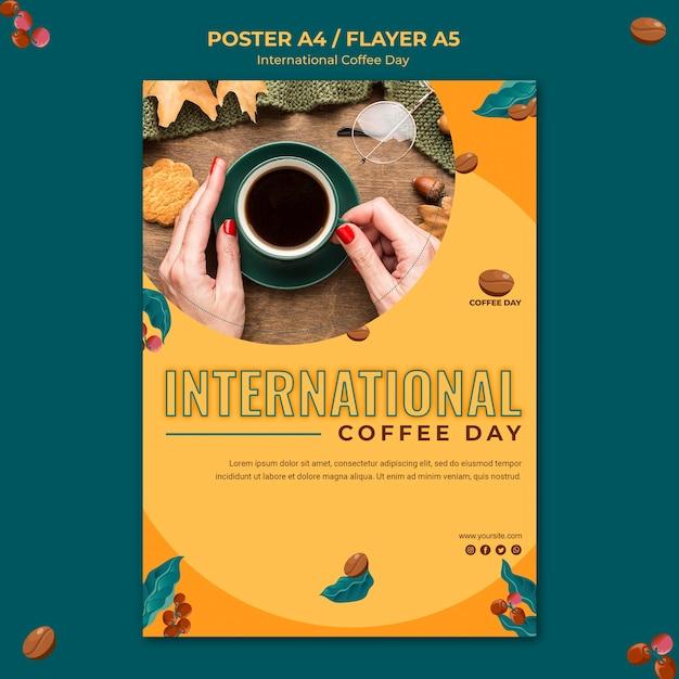 Conceito de pôster do dia internacional do café Psd grátis