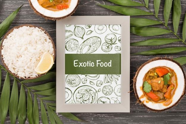 Conceito de quadro de comida exótica com maquete Psd grátis