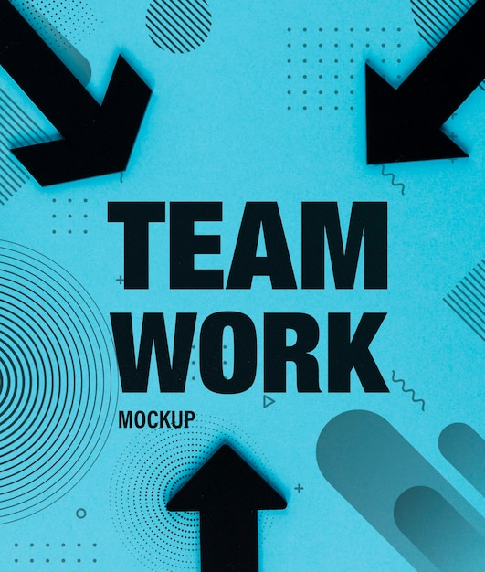 Conceito de trabalho em equipe com setas pretas e design de memphis Psd grátis