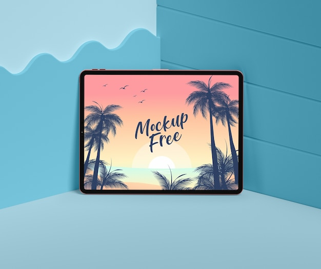 Conceito de verão com tablet no canto azul Psd grátis