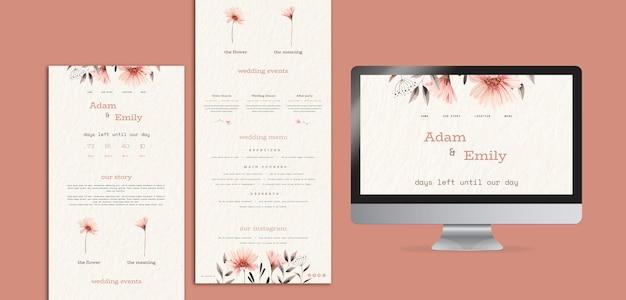 Conceitos de design web para casamento Psd grátis