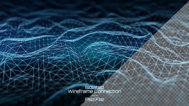 Conexão digital com fio sobre fundo azul escuro Psd Premium