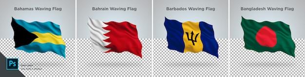 Conjunto de bandeiras de bahamas, bahrain, bangladesh, barbados bandeira definida em transparente Psd Premium