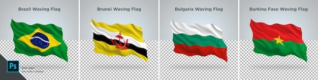 Conjunto de bandeiras do brasil, brunei, bulgária, burkina bandeira definida na transparente Psd Premium
