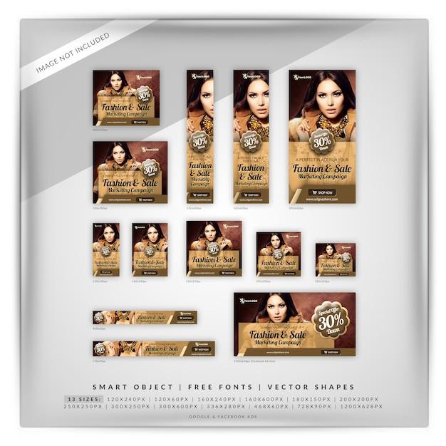 Conjunto de banner de marketing de moda Psd Premium