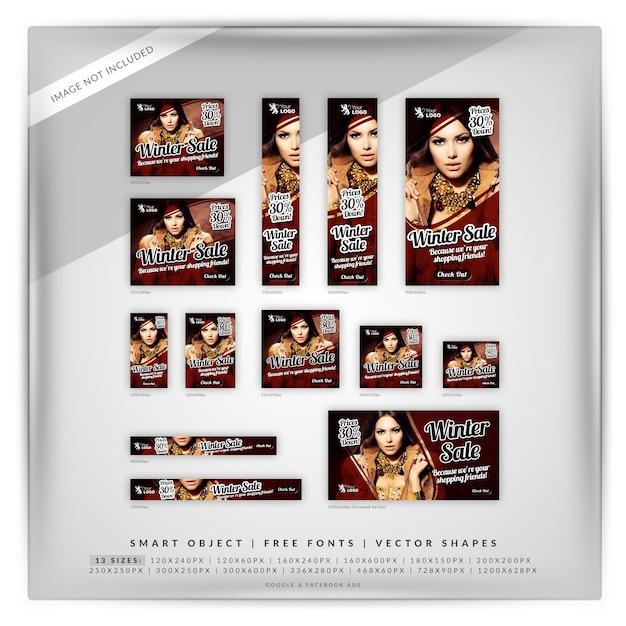 Conjunto de banner de venda de inverno Psd Premium