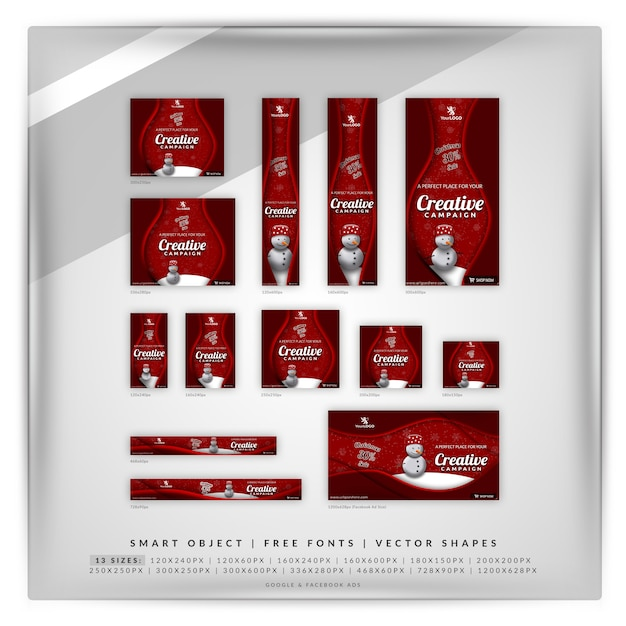 Conjunto de banner de venda de natal e inverno Psd Premium