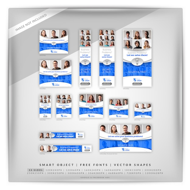 Conjunto de banner do google de marketing empresarial Psd Premium
