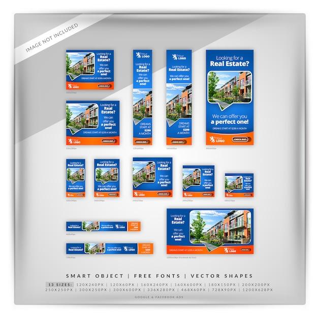 Conjunto de banner do google imobiliário Psd Premium