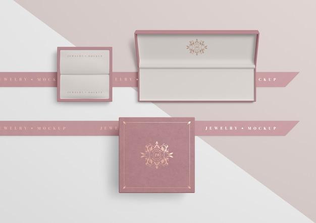 Conjunto de caixas de jóias rosa vazias abertas Psd grátis