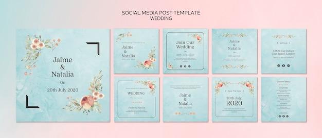 Conjunto de convites de casamento para mídias sociais Psd grátis