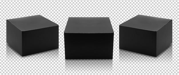 Conjunto de embalagem de produto de caixa preta em vista lateral e maquete de vista frontal Psd Premium