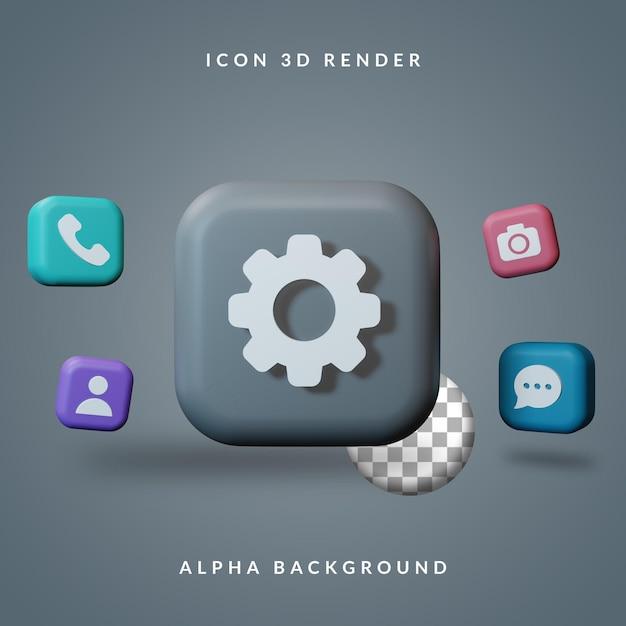 Conjunto de ícones 3d de renderização de smartphone Psd Premium