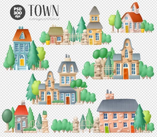 Conjunto de ilustrações da cidade Psd Premium