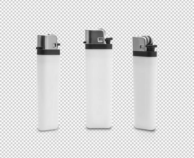 Conjunto de isqueiro a gás de plástico branco Psd Premium