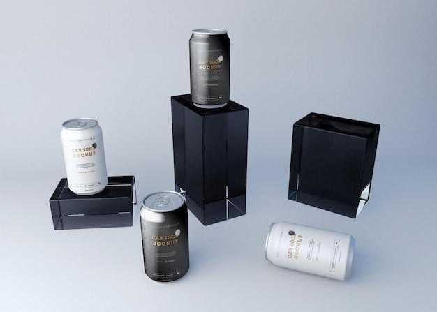 Conjunto de latas de refrigerante e caixas de maquete Psd grátis