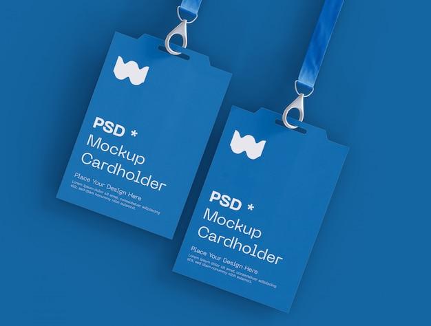 Conjunto de maquete de dois cartões de identidade de crachá Psd grátis