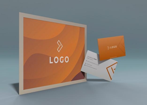 Conjunto de maquete de identidade corporativa do negócio com efeito laranja líquido Psd grátis