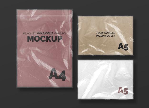Conjunto de maquete de papéis embrulhados de plástico Psd grátis