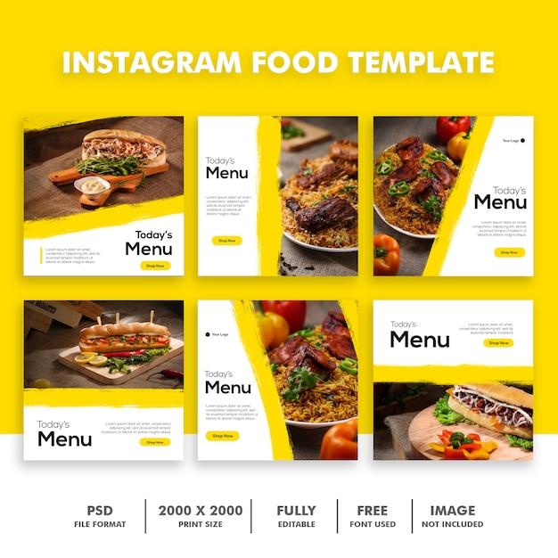 Conjunto de modelo de postagem de instagram de alimentos Psd Premium