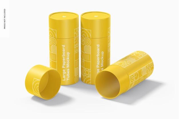 Conjunto de modelos grandes de tubos de papelão, de pé e caídos Psd Premium