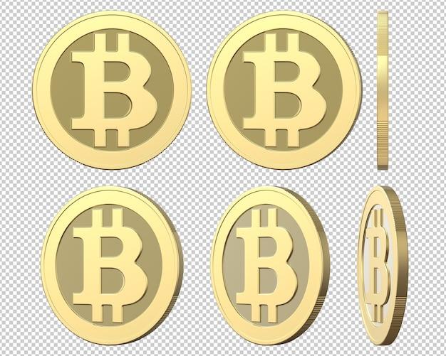 Conjunto de moedas de ouro com sinal de bitcoin Psd Premium