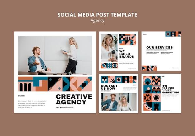 Conjunto de postagens do instagram de design suíço Psd Premium