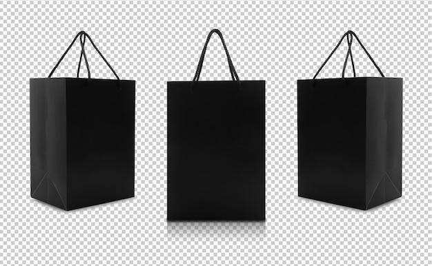 Conjunto de sacos de papel preto com alças Psd Premium
