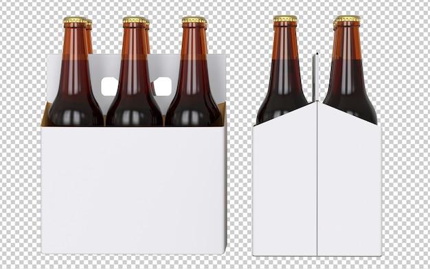 Conjunto de seis garrafas de cerveja branca em branco embalagens com garrafas marrons Psd Premium