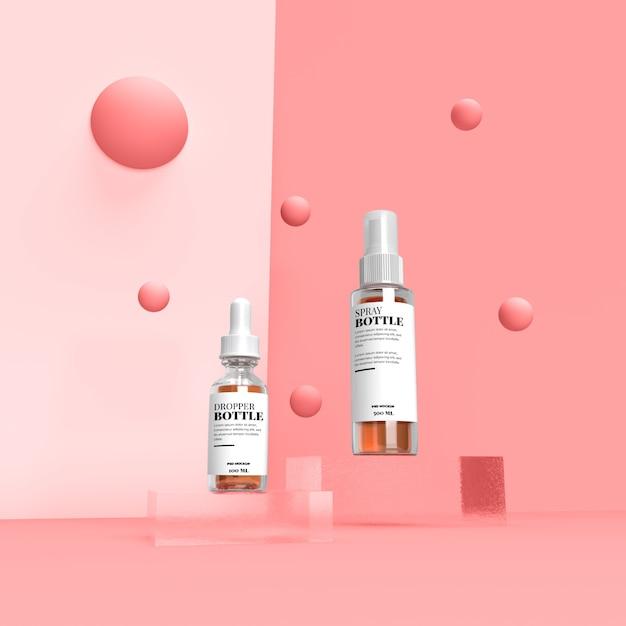 Conta-gotas cosmética e maquete de rótulo em spray na cena Psd Premium