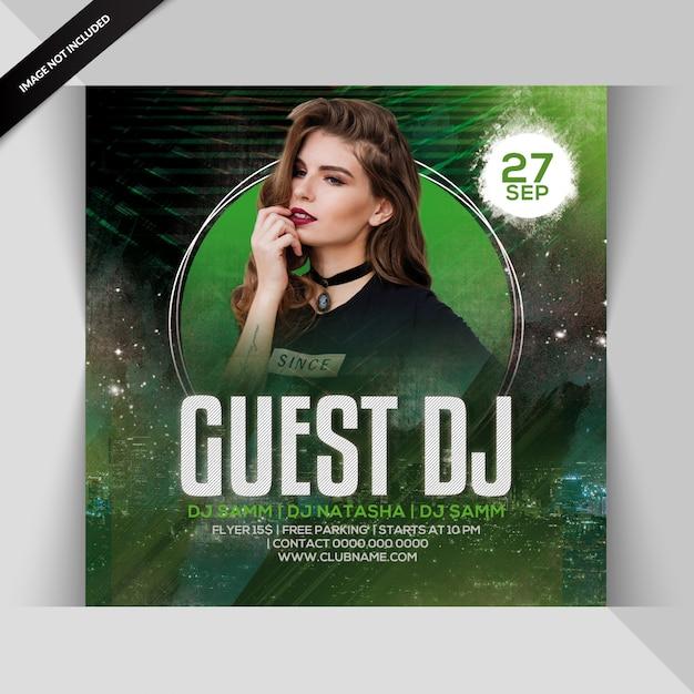 Convidado partido dj flyer Psd Premium