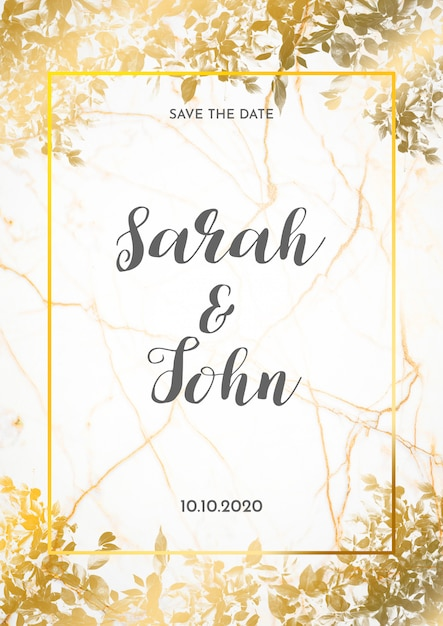 Convite de casamento cartão com folhas douradas Psd grátis