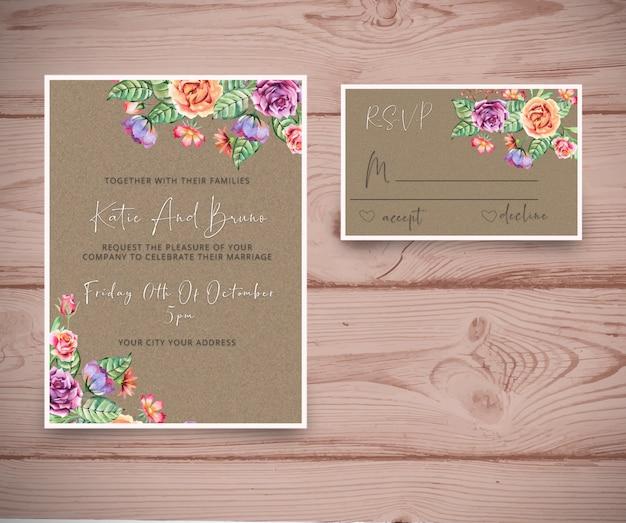 Convite de casamento com cartão rsvp Psd Premium