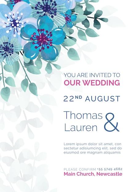 Convite de casamento elegante com modelo de flores pintadas de azul Psd grátis