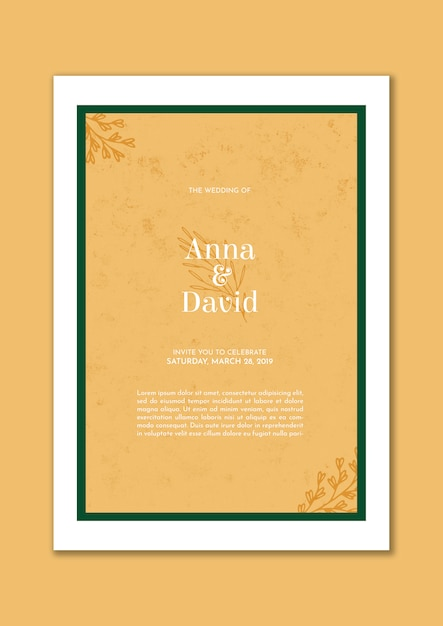 Convite de casamento elegante com moldura verde e folhas douradas Psd grátis