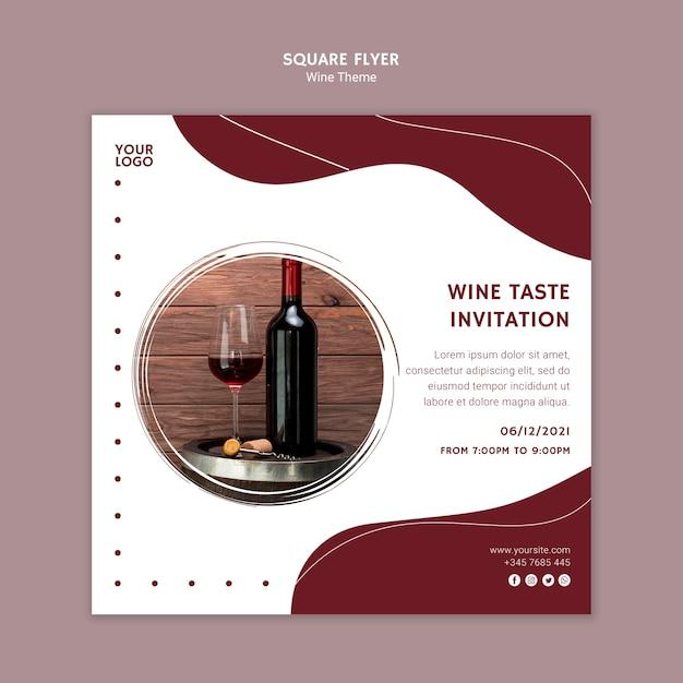 Convite de sabor de vinho panfleto quadrado Psd grátis