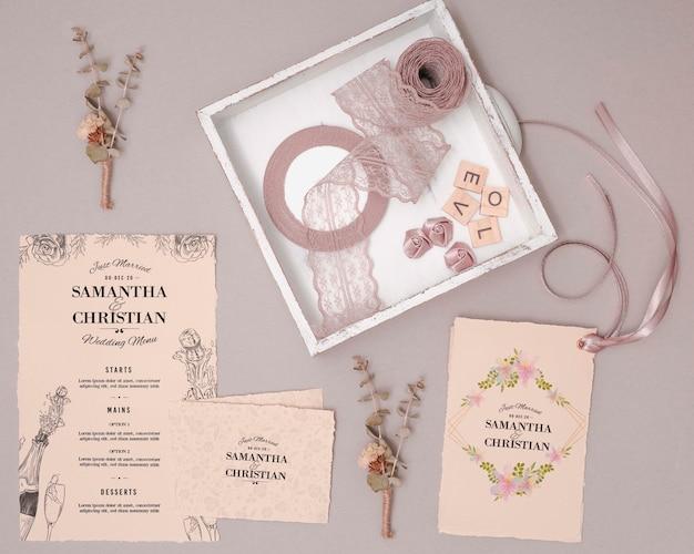 Convites de casamento de vista superior Psd grátis