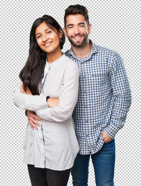 Cool casal sorrindo em fundo branco Psd Premium