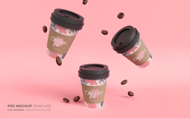 Copos de café e feijão de papel em maquete de gravidade Psd grátis