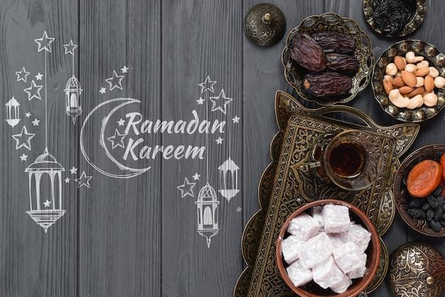 Copyspace maquete com conceito de ramadan Psd grátis