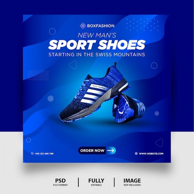 Cor azul calçados esportivos produto marca mídia social post banner Psd Premium