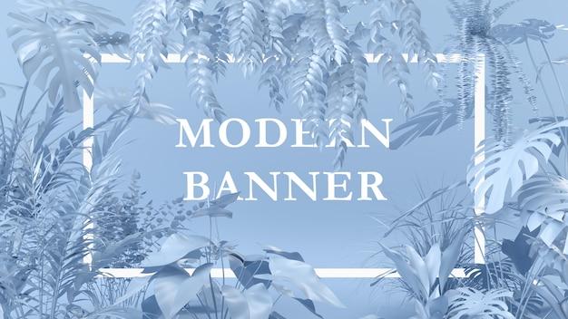 Cor azul da disposição criativa feita de plantas com nota do cartão de papel. conceito de natureza. Psd Premium