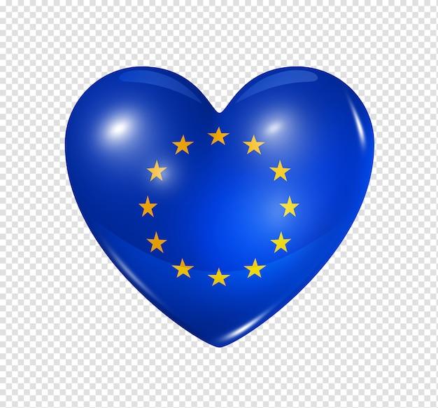 Coração com bandeira da união europeia Psd Premium