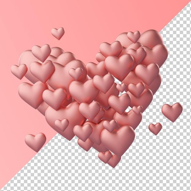 Coração feito de coração forma de amor renderização 3d transparente isolada Psd Premium
