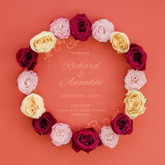 Coroa de rosas salvar a data Psd grátis