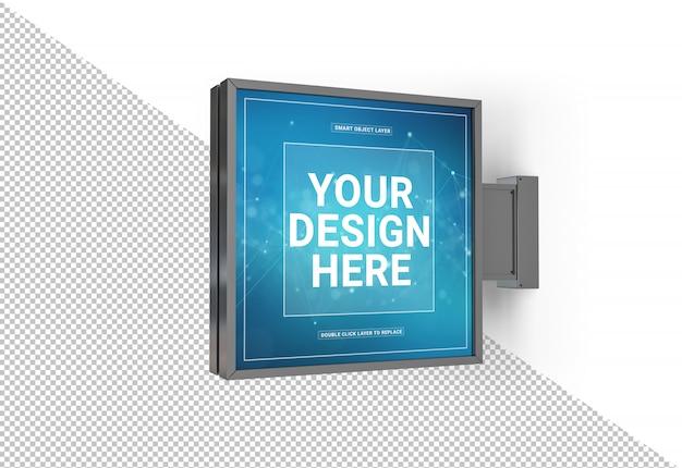 Cortar a loja quadrada assinar maquete Psd Premium
