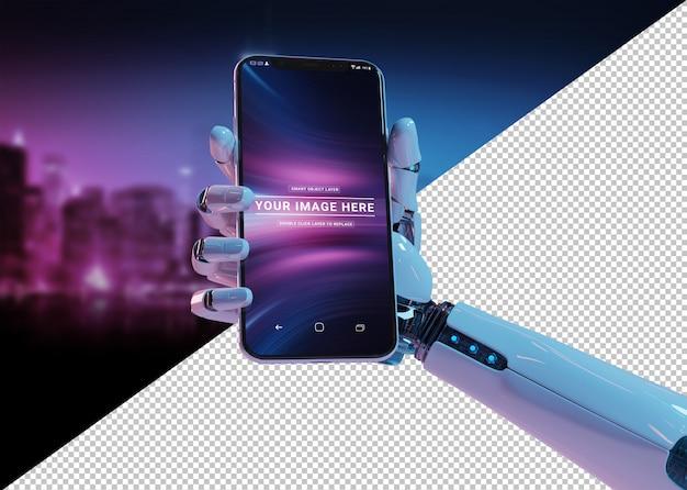 Cortar a mão do robô branco segurando a maquete do smartphone moderno Psd Premium