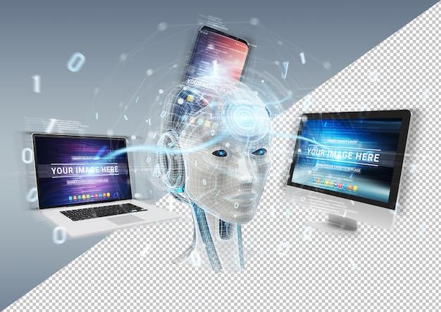 Cortar a maquete de dispositivos de conexão da cabeça do ciborgue Psd Premium