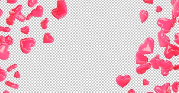 Cortar corações vermelhos caindo Psd Premium