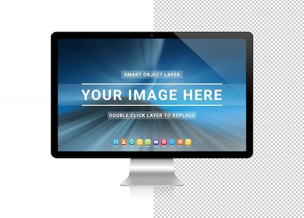 Cortar o computador moderno com maquete de sombra Psd Premium